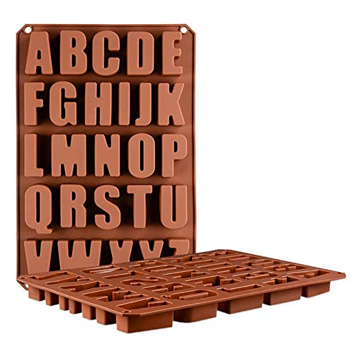 Letras grandes de chocolate del molde, molde de hielo molde de gel de sílice, celosía, letras de molde, moldeo manual de hornear y frío