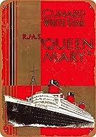 ブリキ看板1936キュナードホワイトスターR.M.S. クイーンメアリーコレクティブルウォールアート