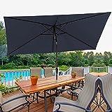 1. Bumblr Rectangular Patio Umbrella 6.5x10ft Outdoor Market Table Umbrella with Push Button Tilt&Crank Wind Resistant UV Protected Sun Shade for Garden Lawn Deck Backyard Pool, Navy