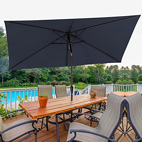 Best patio umbrella for wind - Bumblr Rectangular Patio Umbrella 6.5x10ft Outdoor Market Table Umbrella with Push Button Tilt&Crank Wind Resistant UV Protected Sun Shade for Garden Lawn Deck Backyard Pool, Navy