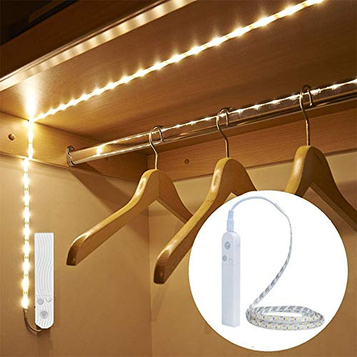 Draadloze Nachtlamp met Bewegingssensor Waterdichte Verlichting Wandlamp Kledingkast LED Inductie Licht Trappen voor Kinder@Sensor Motion Tape_Warm Wit 2m
