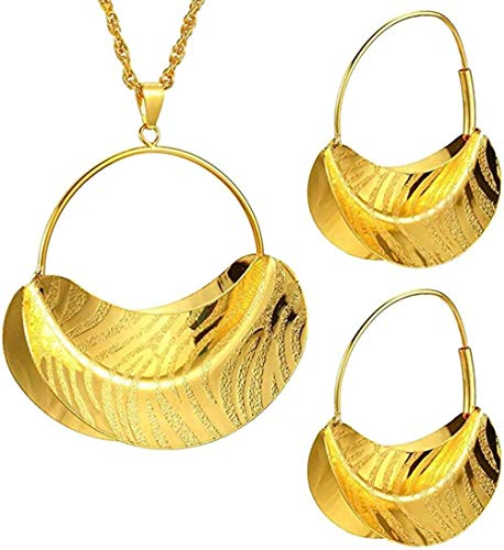 BACKZY MXJP Necklace Fashion Ethnic Jewelry Sets Gold Color Necklace Earrings Pendant for Women Girls Kenya African Engagement Party Gift Length 45Cm Necklace