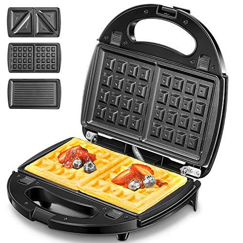 AICOK 3 in 1 Tostiera / Waffles Piastra / Griglia | 3 piastre grill rimovibili | Rivestimento antiaderente | Facile pulizia | Acciaio inossidabile 750W nero