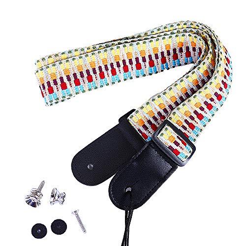 Paisen Rainbow Ukulele Strap Knitting Cotton Belt y Microfiber Leather Head con 2 botones de correa para ukelele o guitarra de tamaño pequeño, 4 cm de ancho, longitud ajustable de 83 cm a 147 cm