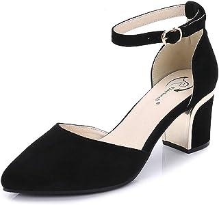[ドドシューズ] 大きいサイズ 小さいサイズ パンプス ストラップ 結婚式 黒 グレー パーティー セパレート パンプス 21 21.5 スウェード ポインテッドトゥ パンプス 脱げない 痛くない チャンキーヒール 太ヒール 歩きやすい 25cm 25.5cm