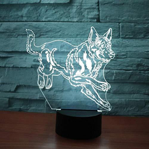 Anime - Luz nocturna 3D LED 3D para perro pastor alemán con 7 colores de luz para decoración del hogar, sorprendente visualización de ilusión óptica, regalo para niños