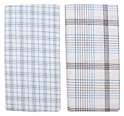 Indhirani Mens Cotton Lungies - Pack of 2 (White, 2 meter)