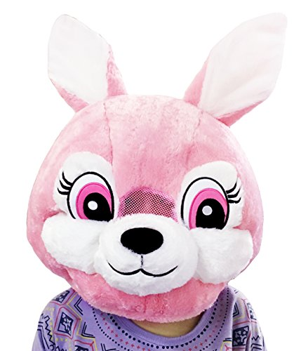 CLEVER IDIOTS INC Animal Head Mask - Plush Costume for Halloween Parties & Cosplay (Rabbit)