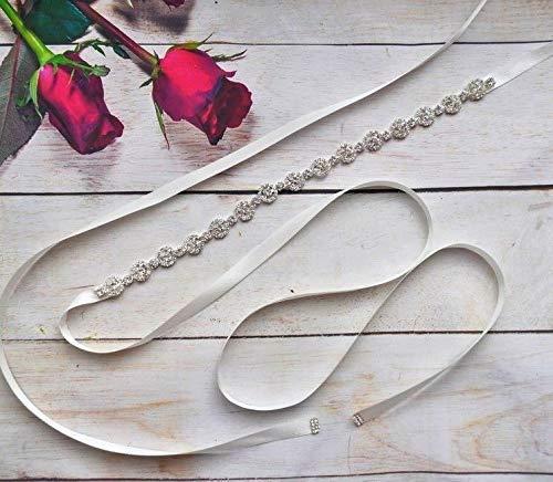 Brautgürtel schmal Strass Damen Gürtel Abendkleidgürtel weiß, ivory, altrosa, schwarz