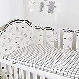 7pcs bebés seguridad almohadillas verticales para forro de cuna niños niñas ropa de cama protector riel funda algodón, parachoques cama acolchado grueso, protección anticolisión, decoración guardería