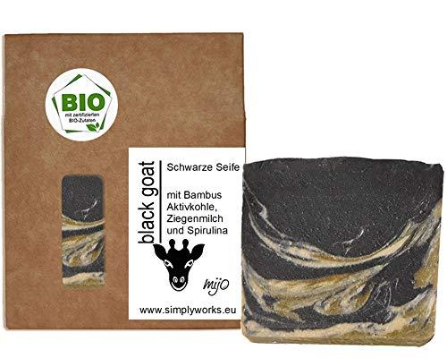 Mijo BLACK GOAT schwarze Seife mit Ziegenmilch für Gesicht handgemachte Naturseife mit Bio Olivenöl ohne Palmöl ca. 100g
