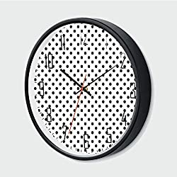 Modern Silent Wall Clock Non Ticking,Old Fashion Large Polka Dots Spots with Modern Digital Effects Minim,Black White,12 Inch,Round Shape Excellent Accurate Sweep Movement