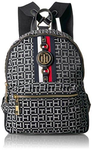 Tommy Hilfiger Men's Women's Backpack Jaden, Black/White, One Size