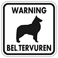WARNING BEL. TERVUREN マグネットサイン:ベルジアンタービュレン(ホワイト)Sサイズ