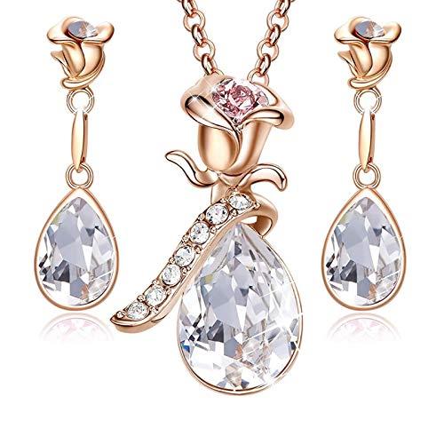 MINCHEDA Conjunto Pendientes Collar para Mujer - Forma de de Flor de Cristales con Caja de Regalo para Día de San Valentín para Madre/Esposa/Novia