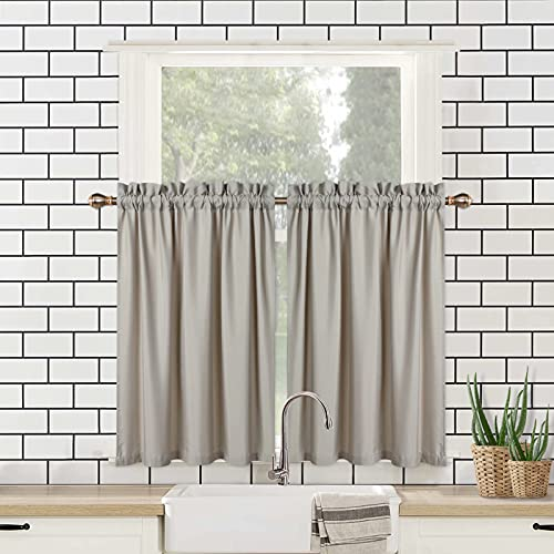 """CAROMIO Bathroom Curtains Window 24 Inch Length, Kitchen Curtains Soft Seersucker Microfiber Fabric with Bubble Textured, Short Cafe Curtains Upgraded Water Repellent(Taupe, 30"""" W x 24"""" L, Set of 2)"""