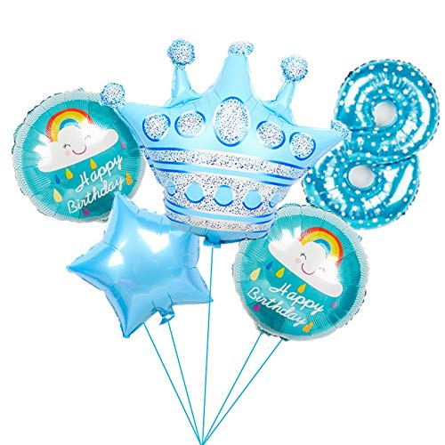 ENXI Balloon 6pcs large pink Princess Crown Foil Balloons blue number 1st birthday party Decorations kids globos baby shower party Supplies (Color : Army Green)