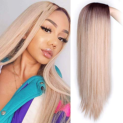 AISI HAIR Long Ombre Wig Mixed Color Brown Mixed Blonde Straight Wigs for Women Heat Resistant Middle Part Synthetic Blonde Wig High Density Long Hair Wig for Women