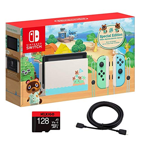 Nintendo 2020 Switch Console Family Christmas Holiday Bundle - Animal Crossing: New Horizons Edition + NexiGo_128GB MicroSD Card + 4K HDMI Cable Bundle
