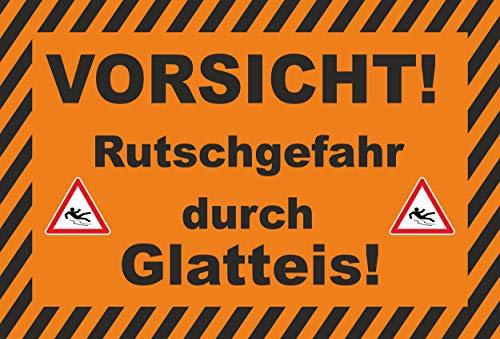 KE-Partyzubehör Schild 30x20cm Rutschgefahr durch Glatteis - 3mm Aluverbund - 20 Varianten