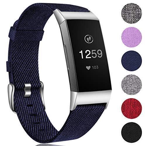 Ouwegaga Woven Armband Kompatibel mit Fitbit Charge 4 Armband/Fitbit Charge 3 Armband, Ersatzband Gewebte Stoff Armbands Zubehör Sport Armbänd Kompatibel mit Fitbit Charge 3/Charge 4, Klein Blau