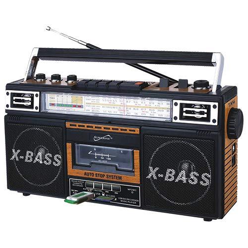 SuperSonic SC-3200 Retro Speakers: Built-in Radio and Cassette Player