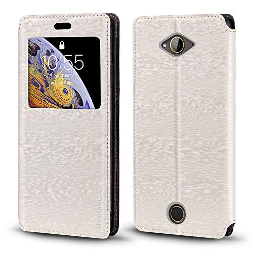 Acer Liquid Z530 Case, Wood Grain Leather Case with Card Holder and Window, Magnetic Flip Cover for Acer Liquid Z530