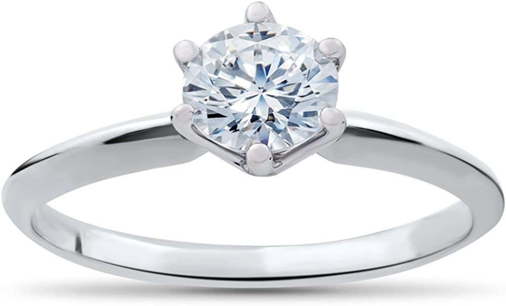 1/3 ct Solitaire Diamond Engagement Ring 14k White Gold