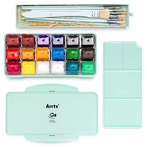 Arrtx Gouache Paint Kit, 18 Colors x 30 Milliliter Paint Set, 10 Pieces Hog Bristle Paint Brushes, Unique Jelly Cup Design with Portable Case Gouache, Perfect for Oil, Acrylic Painting (Mint Green)