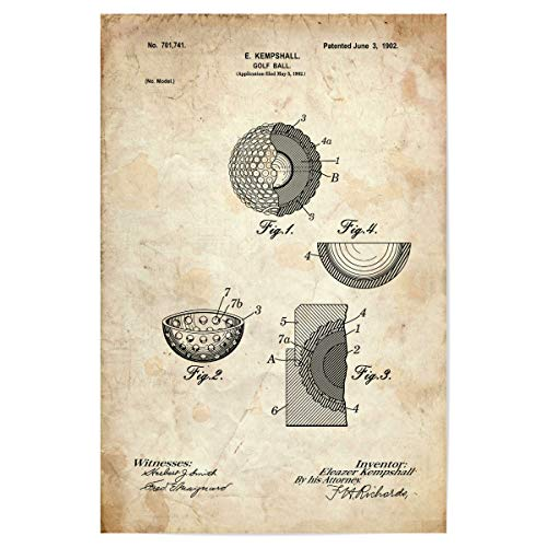 artboxONE Poster 60x40 cm Sport Golfball Entwurf (Antik) - Bild golfschläger patent Golf