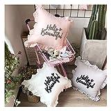 Yuhualiyi123 Novel Wollen gesticktes Kissen Hallo Schöne Stickerei gekräuselten Kern Pillow Pillow Pillow mit Spitze (Color : White, Size : 45 * 45cm)