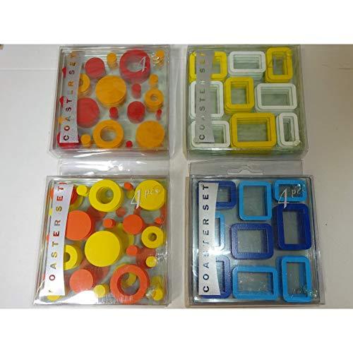 4er Set Glas-Untersetzer Retro Erscheinungsbild 70er Jahre Bierdeckel Glasuntersetzer hitzewiderstandsfähig Auswahl Rechtecke gelb/weiß