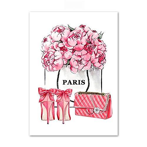 cptbtptp Mode Buch Paris Parfüm Kleid Lippenstift Wandkunst Leinwand Malerei Nordic Poster Und...