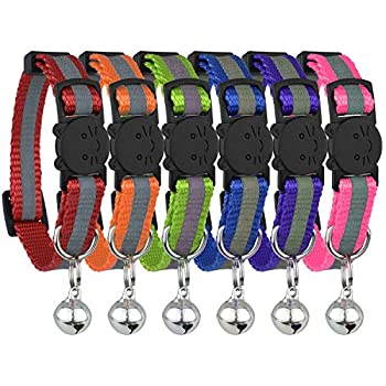 Upgraded Version - Reflective Cat Collar with Bell Set of 6 Solid & Safe Collars for Cats Nylon Kitty Collars Pet Collar Breakaway Cat Collar Free Replacement  6-Pack