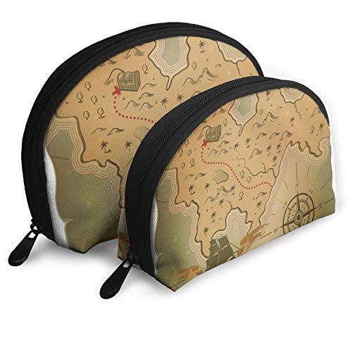 XCNGG Barco o barco y tesoro en el viejo mapa Shell Bolsas portátiles 2 piezas Bolsa de embrague Una bolsa de maquillaje cosmética grande y una pequeña