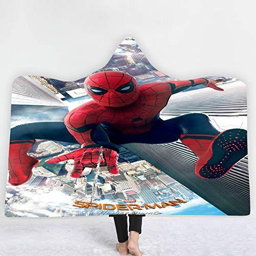 SK-LBB Superhéroe Spiderman y Los Vengadores Manta Supersuave, con capucha, cálida manta para dormir, manta de viaje, manta portátil para niños, niños y adultos (L05,150 x 200 cm)