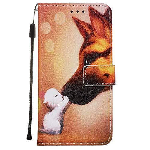 Nadoli Leder Hülle für Huawei P40 Lite,Bunt Hund Malerei Ultra Dünne Magnetverschluss Standfunktion Handyhülle Tasche Brieftasche Etui Schutzhülle