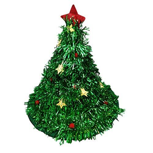 Amosfun Filz Weihnachtsbaum Hut LED Weihnachtsmütze mit Girlande Kugel und Stern Partyhüte Tannenbaum Mütze Weihnachten Kopfschmuck Kopfbedeckung Kostüm Zubehör