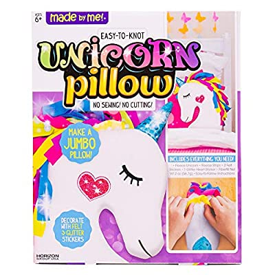Made By Me Make Your Own Unicorn Pillow by Horizon Group USA, Unicorn Shaped DIY Decorative Pillow. Fiberfill, Glitter Stickers & Rainbow Fleece Strips Included. No Sewing Needed, Assorted