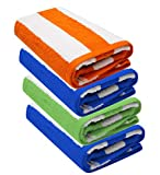 Lot de 4 serviettes de plage Cabana à rayures - 76 x 152 cm - 100 % coton filé à l'anneau - Poids lourd (450 g/m²) et très absorbant (vert, orange et bleu).