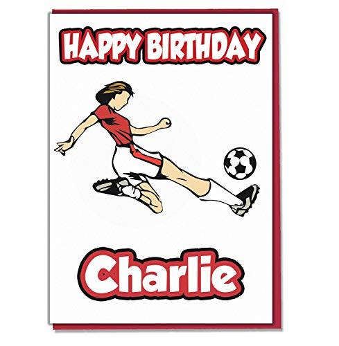 AK Giftshop Gepersonaliseerde Voetbal Rood Vrouwelijke Voetballer Verjaardagskaart - Elke Naam Leeftijd Relatief