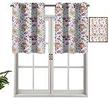 Hiiiman Cenefas de cortina para ventana, estilo acuarela, diseño floral, inspirado en la naturaleza de la primavera fresca, juego de 1, cenefas de 137 x 45 cm para ventana de cocina con ojales.