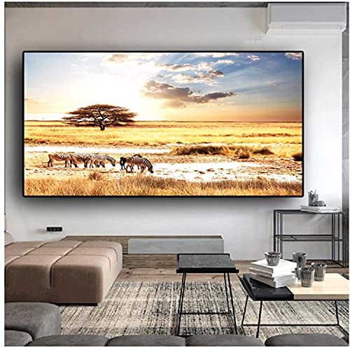 Atardeceres cebra africana paisaje de animales carteles e impresiones lienzo pintura Cuadros escandinavo cuadro de arte de pared para sala de estar