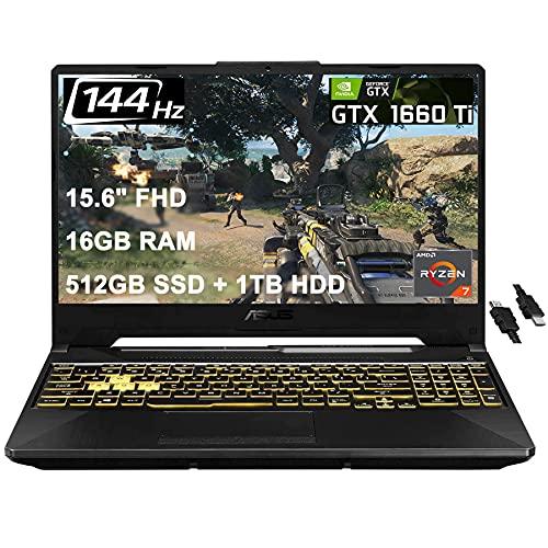 2021 Flagship Asus Tuf A15 Gaming Laptop 15.6' FHD 144Hz AMD Octa-Core Ryzen 7 4800H (Beats i7-9750H) 16GB DDR4 512GB SSD 1TB HDD GTX 1660 Ti 6GB RGB Backlit DTS Webcam Win 10 + iCarp HDMI Cable