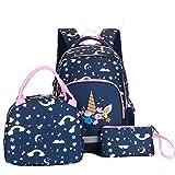 Bebamour Set di zaini scolastici per ragazzi e ragazze, set di zaini 3 in 1 - Zaino per la scuola, borsa termica, borsa per penne Borsa per libri (Unicorn)