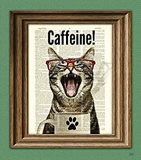Caffeine Cat Has a Case of the Mondays Coffee Cup Cat Altered Art Dictionary Page..