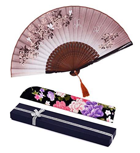 """Amajiji folding fan, 8.27""""(21cm) Women Hand Held Silk Folding Fans Bamboo Frame, Hollow Carve Patterns Bamboo Frame Women Hand Folding Fans Hand Fan Folding Fan (Brown Gift Box)"""