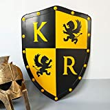 QININQ Escudo Escultura, Medieval Europea Retro Antigua Roma Escudo Placa de Pared 24'de Alto Cresta del Rey heráldica renacentista Caballeros Guerreros Escultura Colgante Decorativa