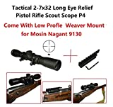 Gotical Sports Long Eye Relief Rifles P4 Scope 2-7X32 Fog and Water Resistant + Low Profile Mosin Nagant 11mm Picatinny Rail Adapter Converter 91/30 Model Scope Mount Compact Short.