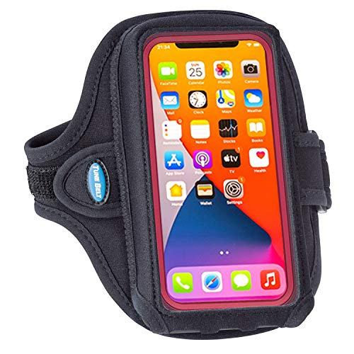 Tune Belt AB92 Armband Holder with Extra-Roomy Pouch to Better Fit Cell Phone Protective Cases on iPhone 11, 12/12 Pro, 11/12 Pro Max, Galaxy S20 Note 20 and more for Running & Working Out